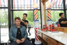"""Actor Luke Hemsworth and celebrity groomer Benjamin Thigpen join Old Spice to teach guys how to achieve a """"Hair"""" of confidence with the grooming brand's line-up of hair styling products and shampoos, including new Swagger Gel, at Made Man Barbershop in New York, Thursday, May 11, 2017. (Photo by Diane Bondareff/Invision for Old Spice/AP Images)"""