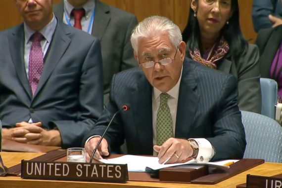 Rex Tillerson speaks at United Nations Security Council
