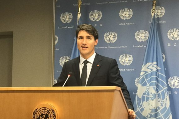 Justin Trudeau at a Press conference United Nations General Assembly 22 September 2017